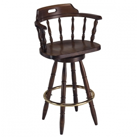 Captain Barstool with arms wood seat