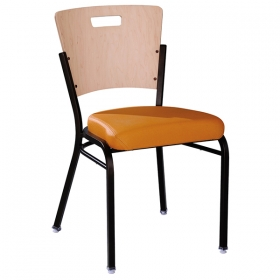 Linz SC Uph Seat & Wood Accent Back