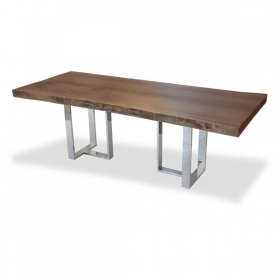 Single Slab Walnut Dining Table Base In Solid Wood Dining Table